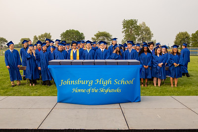 Graduates file into their seats at the 2019 Johnsburg High School Commencement ceremony Friday, May 31, 2019 in Johnsburg. KKoontz – For Shaw Media