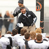 Kaneland's assistant coach Keith Snyder instructs his team during half time at Lincoln-Way West  in New Lenox , IL on Saturday, November 03, 2012  (Sean King for the Kane County Chronicle)