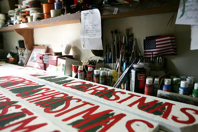 Monica Maschak - mmaschak@shawmedia.com Robert Novak's work space has a work bench with paint brushes, paints and different items used to create products he sells in his McHenry store.
