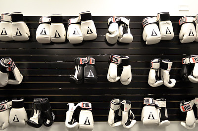 Monica Maschak - mmaschak@shawmedia.com Boxing gloves hang on a wall at the Title Boxing Club in Crystal Lake. Members use these gloves during classes, which are a mix between cardio and boxing.