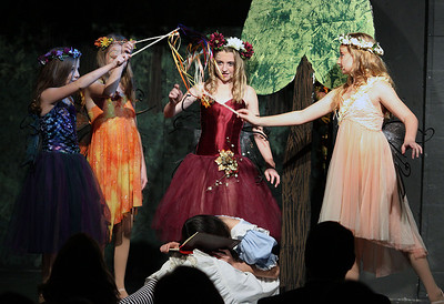 "Jeff Krage – For Shaw Media Faeries hover over Alice during Prairie Middle School's presentation of ""Alice in Wonderland"" on Friday.  Barrington 11/1/13"