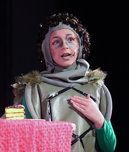 "Jeff Krage – For Shaw Media Mock Turtle, played by Sarah Feely, acts out a scene during Prairie Middle School's presentation of ""Alice in Wonderland"" on Friday.  Barrington 11/1/13"