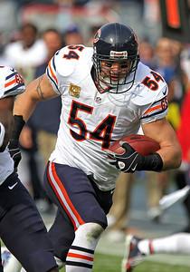 H. Rick Bamman - hbamman@shawmedia.com The Bears' Brian Urlacher returns his interception for a touchdown in the first quaerter against the Titans Sunday November 4, 2012 in Nashville.