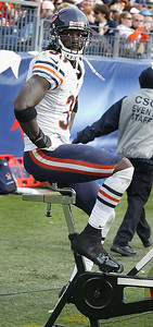 H. Rick Bamman - hbamman@shawmedia.com Bears Charles Tillman rides a stationary bike during the game with the Titans in Nashville Sunday November 4, 2012.