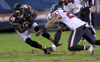 Sarah Nader - snader@shawmedia.com Chicago's Brandon Marshall runs a play during the third quarter  of Sunday's game against Houston at Sholdier Field in Chicago on November, 11, 2012. The Chicago Bears were defeated, 6-13.