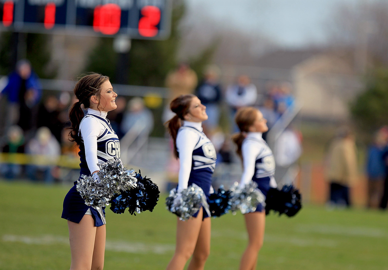 Sarah Nader - snader@shawmedia.com Cray-Grove cheerleaders perform during half time of Saturday's 6A quarterfinal football game against Crystal Lake Central in Cary on November 10, 2012. Cary-Grove won, 7-0.