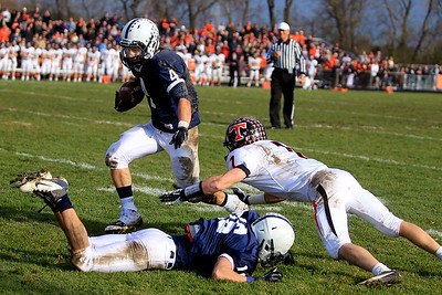 Sarah Nader - snader@shawmedia.com Cary-Grove's Ryan Mahoney runs to towards the end zone to score a touchdown during the second quarter of Saturday's 6A quarterfinal football game against Crystal Lake Central in Cary on November 10, 2012. Cary-Grove won, 7-0.