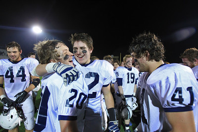 Sarah Nader - snader@shawmedia.com Cary-Grove's Matt Sutherland (left) and Kasey Fields celebrates with their team after Saturday's Class 6A semifinal game against Lake Forest on November 17, 2012 in Lake Forest. Cary-Grove won, 42-21.