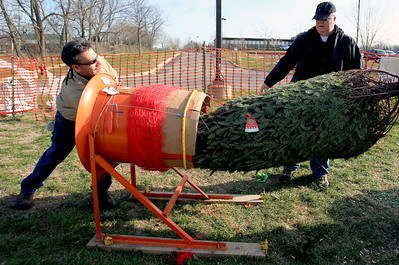 Sarah Nader - snader@shawmedia.com Rene Mendez (left) of Carpentersville and Chris Burns of Algonquin wrap up a Christmas tree for a customer while working at the the Knights of Columbus Christmas Tree Lot at Saint Margaret Mary Church in Algonquin on Sunday, November 25, 2012. The lot opened last Friday and proceeds benefit various charities.