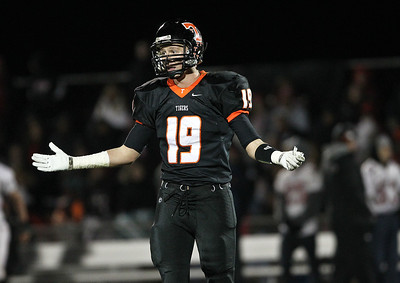 Josh Peckler - Jpeckler@shawmedia.com Crystal Lake Central's Luke Francis reacts to a penalty from a referee during the second quarter at Crystal Lake Central Friday, November 2, 2012. The Tigers defeated visiting Grant 30-13 to move on to a third round playoff game.