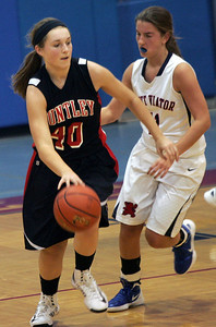 Monica Maschak - mmaschak@shawmedia.com Sam Andrews, for Huntley, dribbles around her defender in a game against St. Viator at the Dundee-Crown Thanksgiving Tournament on Friday, November 16, 2012.  The Lady Red Raiders beat the Lady Lions 48-33.