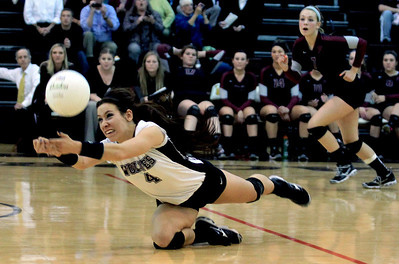 Sarah Nader - snader@shawmedia.com Prairie Ridge's Paige Dacanay dives for the ball during Thursday's Class 4A Jacobs Sectional volleyball final against Boylan in Algonquin on November 1, 2012. Prairie Ridge won, 2-1.