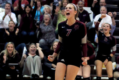 Sarah Nader - snader@shawmedia.com Prairie Ridge's Taylor Otto celebrates after winning Thursday's Class 4A Jacobs Sectional volleyball final against Boylan in Algonquin on November 1, 2012. Prairie Ridge won, 2-1.