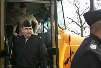 Monica Maschak - mmaschak@shawmedia.com Navy Fire Controlman Vladimir Rivas steps of the bus at the McHenry VFW Post 4600. Rivas was one of about 150 sailors from the Great Lakes Naval Base at the Thanksgiving of Sailors hosted by the combined veterans organizations of McHenry.