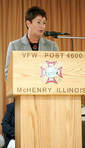 Monica Maschak - mmaschak@shawmedia.com Mayor of the City of McHenry Sur Low speaks to veterans and community members that filled the VFW Post 4600 for a combined Veterans Day ceremony in McHenry on Sunday.
