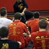 Jeff Krage -- For the Kane County Chronicle<br /> Batavia wrestling coach Scott Bayer instructs wrestlers during Monday's practice. <br /> Batavia 11/19/12