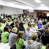 Geneva residents and teachers listen to public comments during a special meeting of the Geneva School District 304 school board Tuesday night.(Sandy Bressner photo)