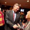 Randy Hultgren, candidate for the 14th U.S. Congressional District, greets supporters while awaiting election results at Aurelio's in Geneva Tuesday night.(Sandy Bressner photo)