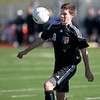 Wheaton Academy's Sam Hardy tries to get control of the ball during their 2-1 loss to Peoria Notre Dame in penalty kicks in the IHSA Class 2A state semifinal at Lincoln-Way North High School in Frankfort Friday. (Sandy Bressner photo)