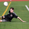 Sam Hardy of Wheaton Academy keeps the ball in play during their 2-1 loss to Peoria Notre Dame in penalty kicks in the IHSA Class 2A state semifinal at Lincoln-Way North High School in Frankfort Friday. (Sandy Bressner photo)