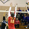 Jeff Krage – For Shaw Media<br /> Geneva's Ally Barrett hits the ball over the net during Thursday's IHSA class 4A regional championship against Batavia at Addison Trail High School.<br /> Addison 10/31/13