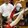 Jeff Krage – For Shaw Media<br /> Batavia's Shea Thayer goes up for a block during Thursday's IHSA class 4A regional championship against Geneva at Addison Trail High School.<br /> Addison 10/31/13