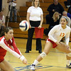 Jeff Krage – For Shaw Media<br /> Batavia's Maddie Jaudon, right, watches a Heather Meyer bumps the ball during Thursday's IHSA class 4A regional championship against Geneva at Addison Trail High School.<br /> Addison 10/31/13