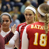 Jeff Krage – For Shaw Media<br /> Batavia players (left to right) Maddie Jaudon, Jancy Lundberg and Heather Meyer get direction from head coach Lori Trippi-Payne during Thursday's IHSA class 4A regional championship against Geneva at Addison Trail High School.<br /> Addison 10/31/13