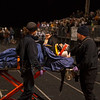 Kaneland's Brandon Bishop (8) gives the crowd  a thumbs up as he is taking away in an ambulance after getting hit on a punt return at Kaneland High School in Maple Park, IL on Friday, November 01, 2013 (Sean King for Shaw Media)