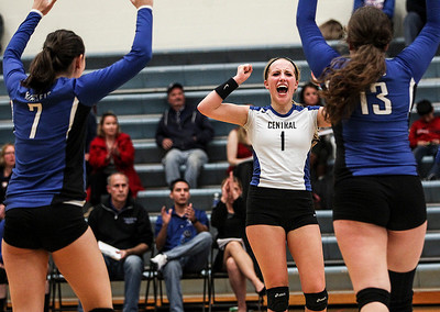 Sarah Nader- snader@shawmedia.com Burlington Central's Allie O'Reilly celebrates a point during Tuesday's Class 3A Burlington Central Sectional semifinal against Lakes in Burlington November 5, 2013.