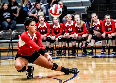 Sarah Nader- snader@shawmedia.com Marian Central's Frankie Taylor dives for the ball during Tuesday's Class 3A Burlington Central Sectional semifinal against Regina Dominican in Burlington November 5, 2013. Marian Central won, 2-0.