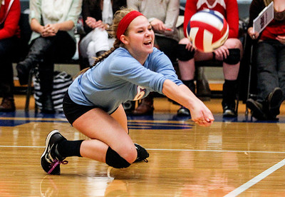 Sarah Nader- snader@shawmedia.com Marian Central's Bethany Bucci dives for the ball during Tuesday's Class 3A Burlington Central Sectional semifinal against Regina Dominican in Burlington November 5, 2013. Marian Central won, 2-0.