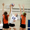 Daley Krage of St. Charles North goes up for a kill during their 25-19, 25-22 Geneva Sectional semifinal win over St. Charles East Tuesday.
