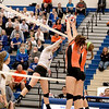 St. Charles North's Taylor Krage (7) goes up for a kill during their 25-19, 25-22 Geneva Sectional semifinal win over St. Charles East Tuesday.