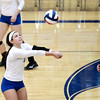 Courtney Caruso of Geneva bumps the ball during their 25-20, 25-21 Geneva Sectional semifinal win over Glenbard West Tuesday night.