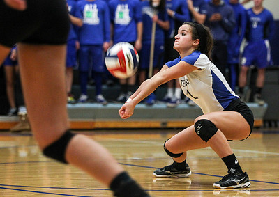 Sarah Nader- snader@shawmedia.com Burlington Central's Brianna Venturini returns the ball during Thursday's Class 3A Burlington Central Sectional semifinal against Marian Central November 7, 2013. Marian Central defeated Central, 2-1.