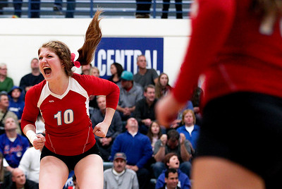 Sarah Nader- snader@shawmedia.com Marian Central's Rachel Giustino celebrates a point during Thursday's Class 3A Burlington Central Sectional semifinal against Burlington Central November 7, 2013. Marian Central defeated Central, 2-1.