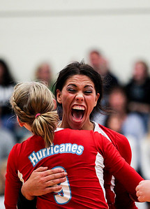 Sarah Nader- snader@shawmedia.com Marian Central's Frankie Taylor reacts after winning Thursday's Class 3A Burlington Central Sectional semifinal against Burlington Central November 7, 2013. Marian Central defeated Central, 2-1.