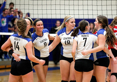 Sarah Nader- snader@shawmedia.com Burlington Central reacts after losing game one of Thursday's Class 3A Burlington Central Sectional semifinal against Marian Central November 7, 2013. Marian Central defeated Central, 2-1.