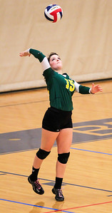Kyle Grillot - kgrillot@shawmedia.com   Crystal Lake South senior Hannah Wilson serves the ball during the second game of the final girls volleyball match of the Class 4A Belvidere North Sectional Thursday in Belvidere. Crystal Lake South won the match in two games.