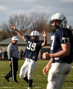 Sarah Nader- snader@shawmedia.com Cary-Grove's Tyler Pennington celebrates during Saturday's second-round Class 6A football playoff game against Boylan November 9, 2013. Cary-Grove was lost, 10-17.