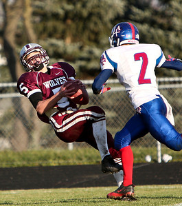 Josh Peckler - For the Northwest Herald  Prairie Ridge's Danny Meikel (5) catches the game winning catch during the fourth quarter against Marmion Academy during the IHSA Class 6A second round playoff game at Prairie Ridge High School Saturday, November 9, 2013.