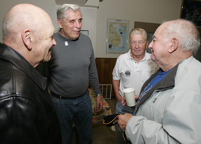 H. Rick Bamman - hbamman@shawmedia.com Veterans Rich Yorick, (from left) of Lake in the Hills, Butch Hacker, Ken Lavand, and Ronald Werner all of Huntley share stories after the Huntley American Legion Post 673 Veterans Day breakfast Monday, Nov. 11, 2013.