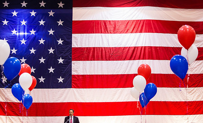 Kyle Grillot - kgrillot@shawmedia.com   Mayor of Crystal Lake, Aaron Shepley gives a speech during the Veterans Day event at Crystal Lake South High School. Crystal Lake South invited more than 500 local veterans to be honored at their event, held in the gymnasium Monday November 11, 2013.