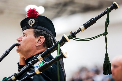 Kyle Grillot - kgrillot@shawmedia.com   Bagpiper David Cormalleth plays the national anthem at the beginning of the Veterans Day ceremony at McHenry County College (MCC) Friday in Crystal Lake. The ceremony features two speakers, veterans Noah Currier and Ryan Blum, as well as patriotic music played by the MCC Concert Band and Chorus. Currier is a Marine Corps veteran, and Blum is an Army veteran, both served in Iraq and Afghanistan before taking on new leadership roles in McHenry county.