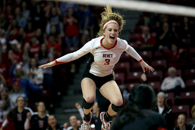 Sarah Nader - snader@shawmedia.com Benet's Caroline Wolf celebrates a win during Friday's IHSA Class 4A semifinal against Crystal Lake South at Illinois State University in Normal, IL November 15, 2013. Benet won, 2-0.