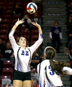Sarah Nader - snader@shawmedia.com St. Francis' Daniel Messa sets the ball during Friday's  IHSA Class 3A state semifinals against Central at Illinois State University in Normal, IL Friday, November 15, 2013. St. Francis won, 2-0.