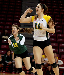 Sarah Nader - snader@shawmedia.com Crystal Lake South's Carly Nolan (right) celebrates a point during Friday's IHSA Class 4A semifinal against Benet at Illinois State University in Normal, IL November 15, 2013. Crystal Lake South lost, 0-2.
