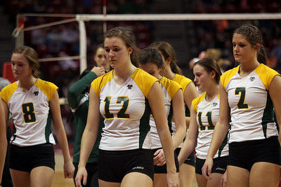 Sarah Nader - snader@shawmedia.com Crystal Lake South players walk off the court after losing Friday's IHSA Class 4A semifinal against Benet at Illinois State University in Normal, IL November 15, 2013. Crystal Lake South lost, 0-2.