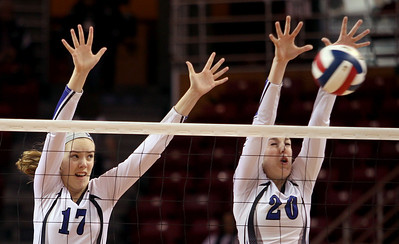 Sarah Nader - snader@shawmedia.com St. Francis' Mary Boken (left) and Kamryn Malloy block the ball during Friday's  IHSA Class 3A state semifinals against Central at Illinois State University in Normal, IL Friday, November 15, 2013. St. Francis won, 2-0.